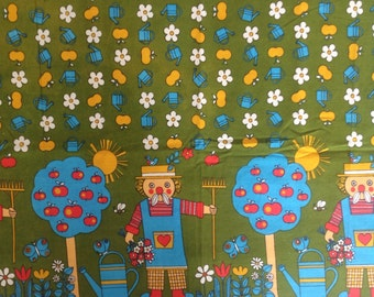 Seventies vintage childrens fabric - 130x85 cm.