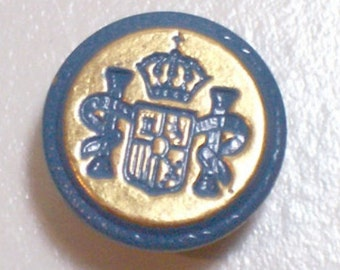 Blue Buttons, Goldtone Metal Buttons 5/8 inch diameter x 25 pieces, Coat of Arms Design