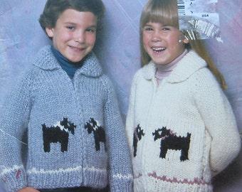 Vintage White Buffalo Wool Childrens Sweater Pattern