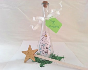 Fairy Pixie Dust bottle prop potion tink fly away to neverland and wand Halloween prop