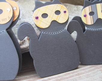 WHO is that  MASKED CAT Set of 3 Cat Halloween Embellishments
