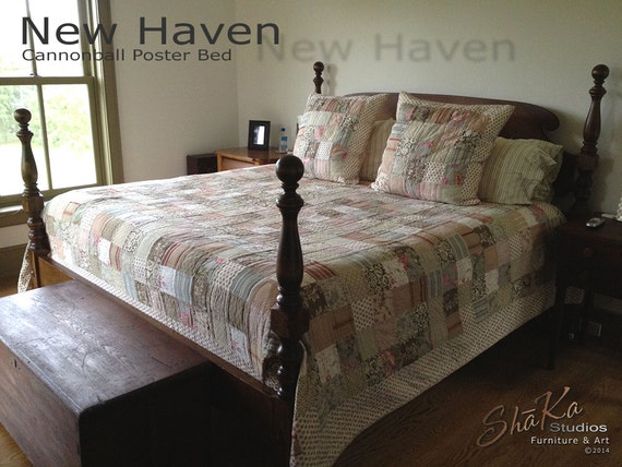 New Haven Maple Tall Cannonball Poster Bed | Distressed American Walnut Finish | Colonial American Furniture