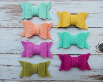 SMALL Chunky Wool Felt Bows - Color Love Collection - Set of 14 - NEW SIZES