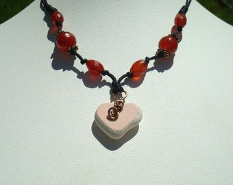 Sea Glass and Gemstone Necklace -Heart Shaped Peach Pink Beach Tile -Surfer Knotted Black Cotton Cord Slide