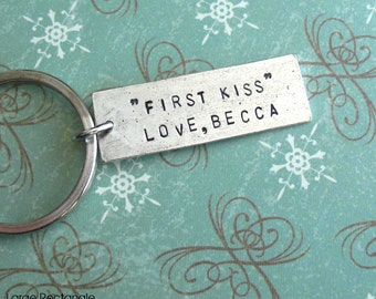 """Large Rectangle Tag GPS Keychain .. 1/2"""" x 1-1/2"""" Pendant .. Custom Hand Stamped antiqued charm .. copper, silver or gold .. souvenir gift"""