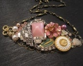 Pink Gold Silver White Flower Rhinestone Vintage collage necklace Pinkalicious