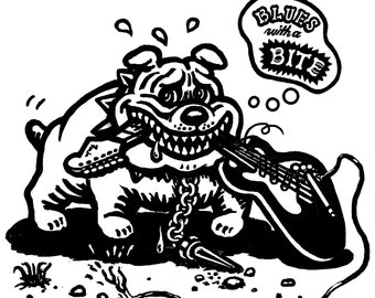 Dog Music Tshirt Mens Guitar Stratocaster Blues bulldog
