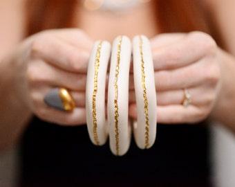 Gold River Bracelet Bangle - 22k gold - Porcelain Jewelry - Beach Bangle Wrist Couture