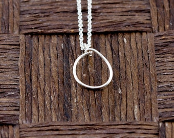 Sterling Silver Wire Wrapped Initial Pendant and Necklace - Letter O