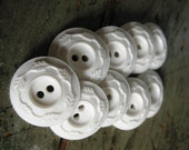 Vintage White Plastic Leaf Wreath Pattern Buttons, set of 9