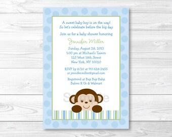 Monkey Baby Shower Invitation / Baby Boy / Blue & Green / PRINTABLE