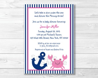 Cute Pink Crab Baby Shower Invitation / Crab Baby Shower Invite / Nautical Baby Shower / Pink & Navy Blue / Girl Nautical / PRINTABLE A397