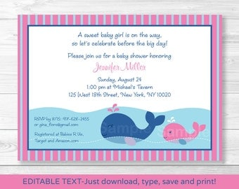 Pink Whale Baby Shower Invitation INSTANT DOWNLOAD Editable PDF