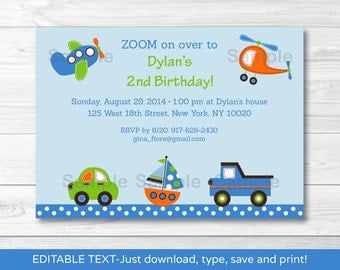 Transportation Vehicles Car Truck Airplane Sailboat Helicopter Birthday Invitation INSTANT DOWNLOAD Editable PDF