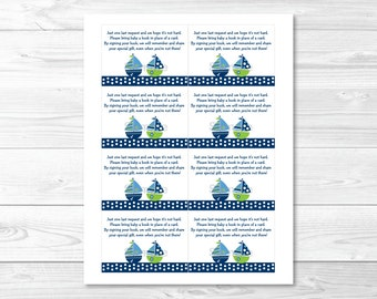 Cute Sailboat Book Request Cards / Sailboat Baby Shower / Nautical Baby Shower / Books For Baby / Baby Boy Shower / INSTANT DOWNLOAD