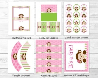Cute Pink Monkey Baby Shower Party Package / Monkey Baby Shower / Monkey Decorations / Pink & Green / Baby Girl / Printable INSTANT DOWNLOAD