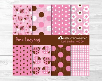 Cute Pink Ladybug Digital Paper / Ladybug Baby Shower / Ladybug Pattern / Pink & Brown / PERSONAL USE Instant Download