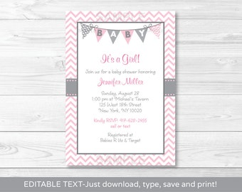 Cute Pink Chevron Baby Shower Invitation / Chevron Baby Shower Invite / Chevron Pattern / Pink & Grey / INSTANT DOWNLOAD Editable PDF