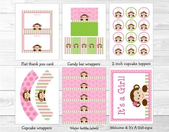 Cute pink monkey baby shower party package monkey baby for Baby shower decoration packages