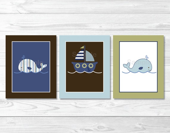Cute Nautical Nursery Wall Art / Whale Nursery Wall Art / Sailboat Nursery / Nautical Nursery / Baby Boy / PRINTABLE Instant Download