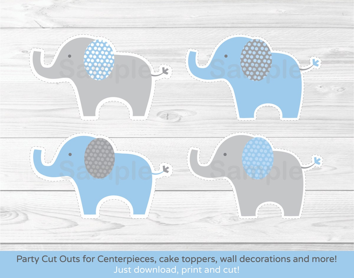 Blue elephant cut outs elephant centerpiece wall decor for Baby shower decoration cutouts