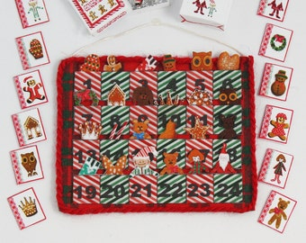 Advent Calendar & Accessories KIT, Fabric and Paper Kit, 1:12, Dollhouse Miniature designed by Jean Day