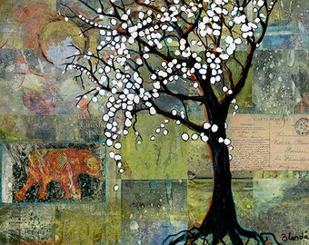 Elephant, Tree with Blossoms Art Print, Mixed Media Collage Art, Tree of Life Limited Edition