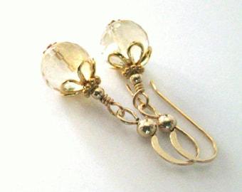 Citrine Gemstone Drop Earrings, Flower Bead Caps, Microfaceted Citrine, Goldfilled Earrings