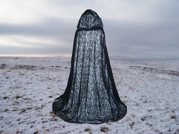 Black Rosebud Lace Cape Cloak  Hooded Wedding Gothic Medieval Vampire