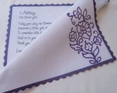 Personalized Flower Girl Handkerchief, Purple and Lavender, Rustic Paisley With Custom Poem, Wedding Party Favor or Gift, Flowergirl Hankie