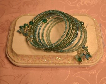 Light Turquoise and Teal Blue Crystal Memory Wire Bracelet