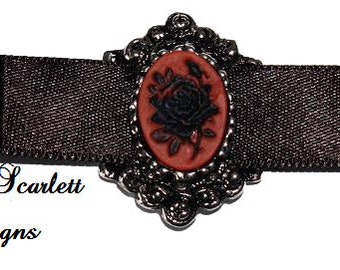 SALE Romantic Choker Satin Ribbon with Cameo of Neo Victorian Rose Gothic Lolita Black Red