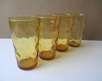 Vintage Amber Dot Retro Glass Tumblers Set of Four