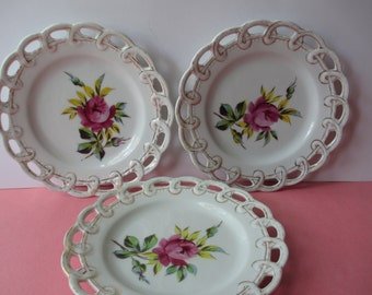 Vintage Floral Plates Victoria Pottery Pink Aqua Rose Lacy Trio