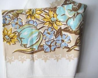 Vintage Tablecloth Blue Aqua Gold - Cottage Style