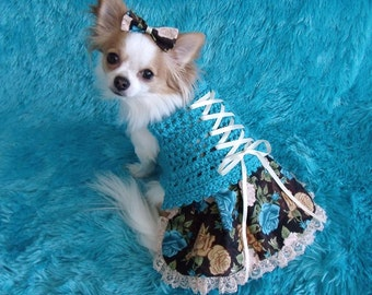 VICTORIAN Corset laced dog skirt-ter - 2 - 20 lb dogs - Made to order