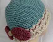 Baby Girls Crochet Hat Pattern With Bow Trim Instant Download Multi-Size