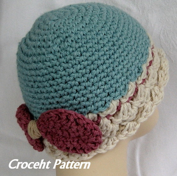 Baby Girls Crochet Hat Pattern With Bow Trim Instant Download