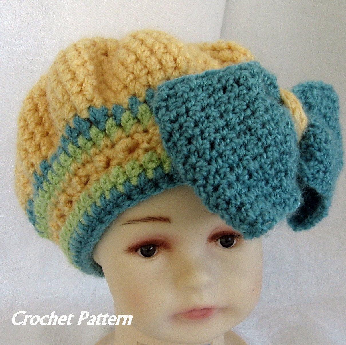 Crochet Baby Hat Pattern With Bow : Crochet Hat Pattern Baby Girls Beret With Bow Trim Instant