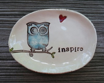 inspire - owl dish - teacher gift - in stock Ready To Ship