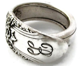 Spoon Ring B Monogram First Love Size 5 6 7 8 9 10