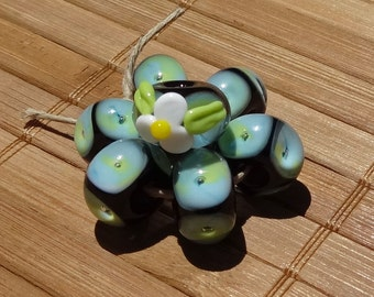 Trapped Bubble Beads--Black with Blue and Lime Green Swirls---Handmade LAMPWORK Bead Set with FREE Bonus Bead