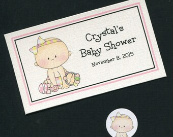 Personalized Baby Shower Favor Topper Labels, Candy Stickers and Plastic Bag Set, baby girl with toys, set of 40
