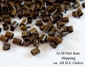400 Bronze Crimp Beads Antique Plated Brass NF 1.5x1mm Economy Grade - 4 grams - F4021CB-AB200