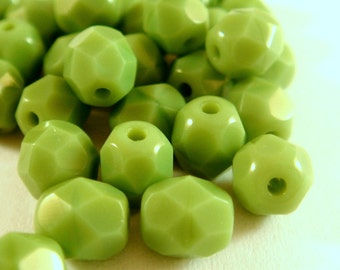33 Czech Glass Bead Green 6mm Fire Polished Faceted Opaque Green - 33 pc - G6032-OPG33