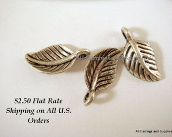 25 Antique Silver Leaf Charm Drop Pendant LF 15x8mm - 25 pc - M7022-AS25