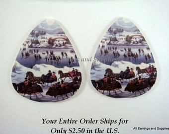 2 Ice Skating Guitar Pick Single Sided - Central Park - 2 pc - 6129 - Buy 5 designs, get 1 Free