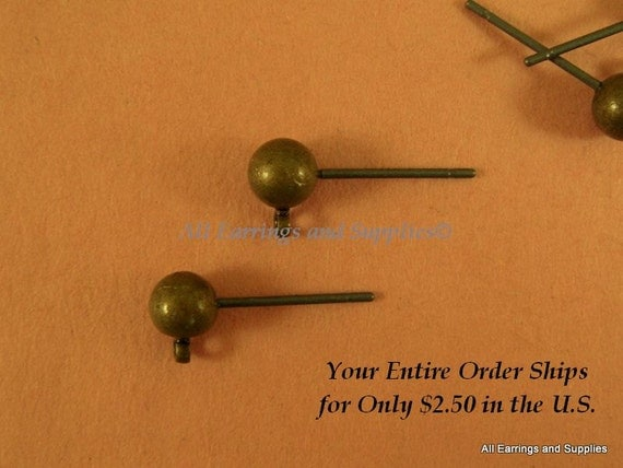 24 Brass Ball Ear Studs Antique Bronze Plated 5mm - 24 pc - F4018ES-AB24
