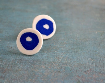 Sometimes - porcelain and sterling silver earstuds - white & blue