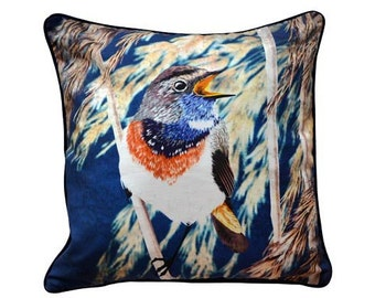 Cushion cover for throw pillow with bird - Bluethroat - 16x16inch // 40x40cm